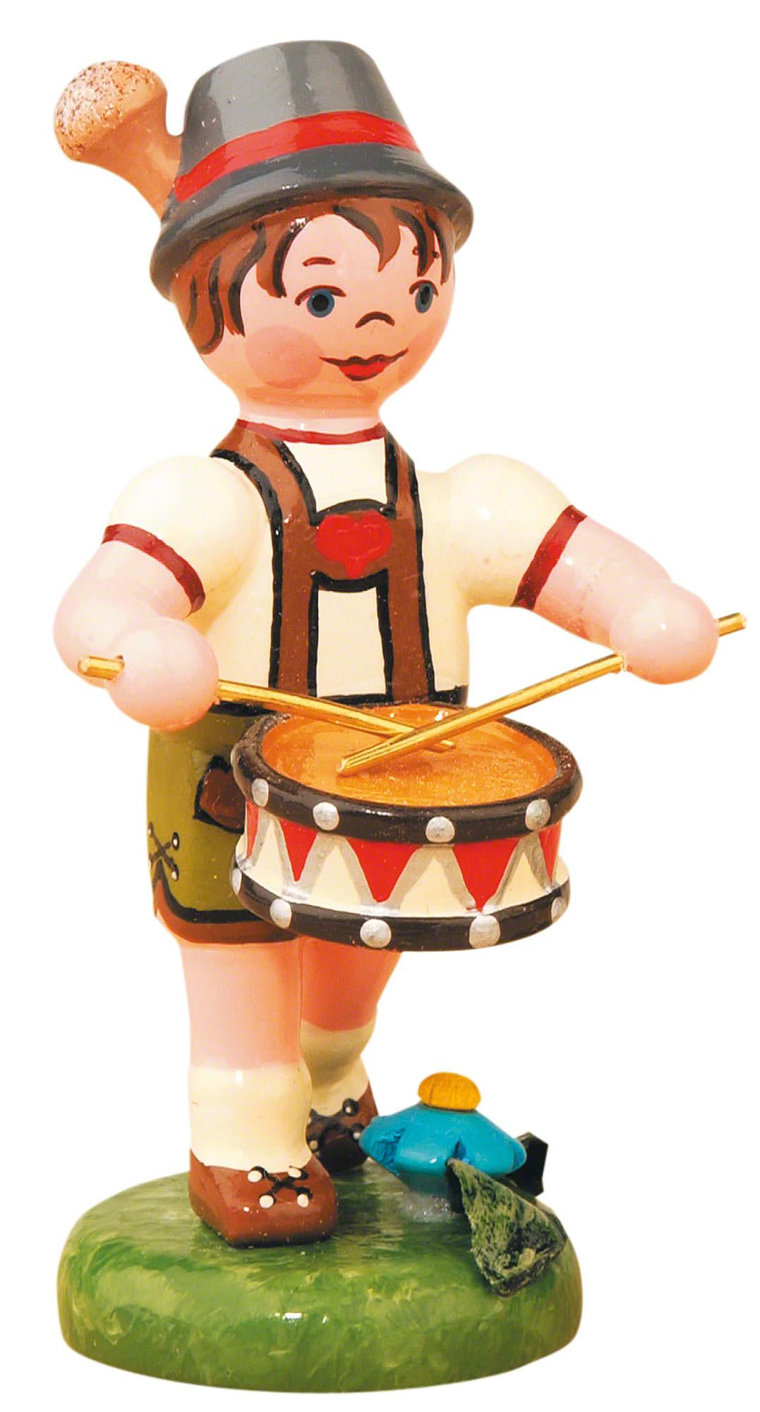 Lampion child boy with Drum (8cm/3in)ch by Hubrig Volkskunst.