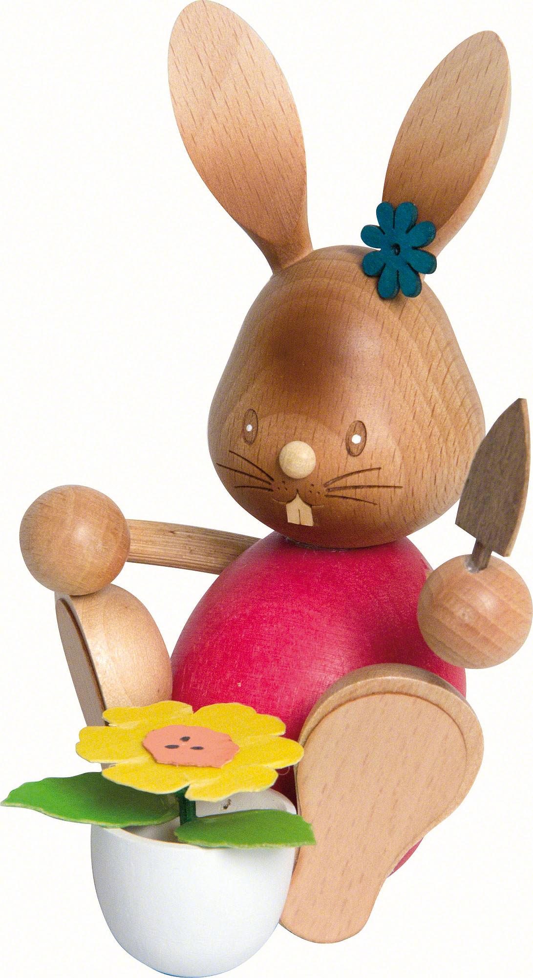 Snubby Bunny gardener (12cm/4.7in)ch by Drechslerei Kuhnert.