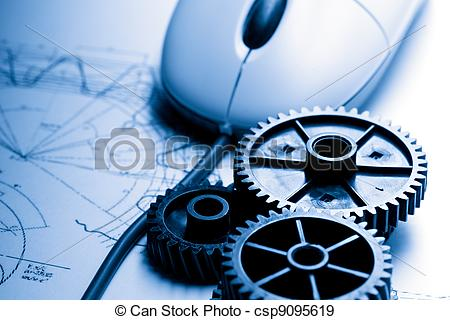 Stock Photographs of Mechanical ratchets, drafting and mouse.