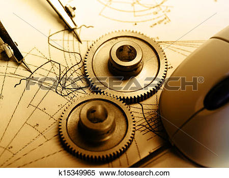 Stock Image of Mechanical ratchets, dividers and drafting.