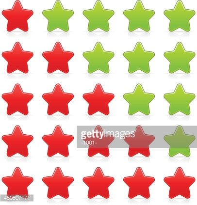 Five sign red green star web icon button internet rating.