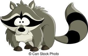 Vector Clip Art of Raccoon on white.