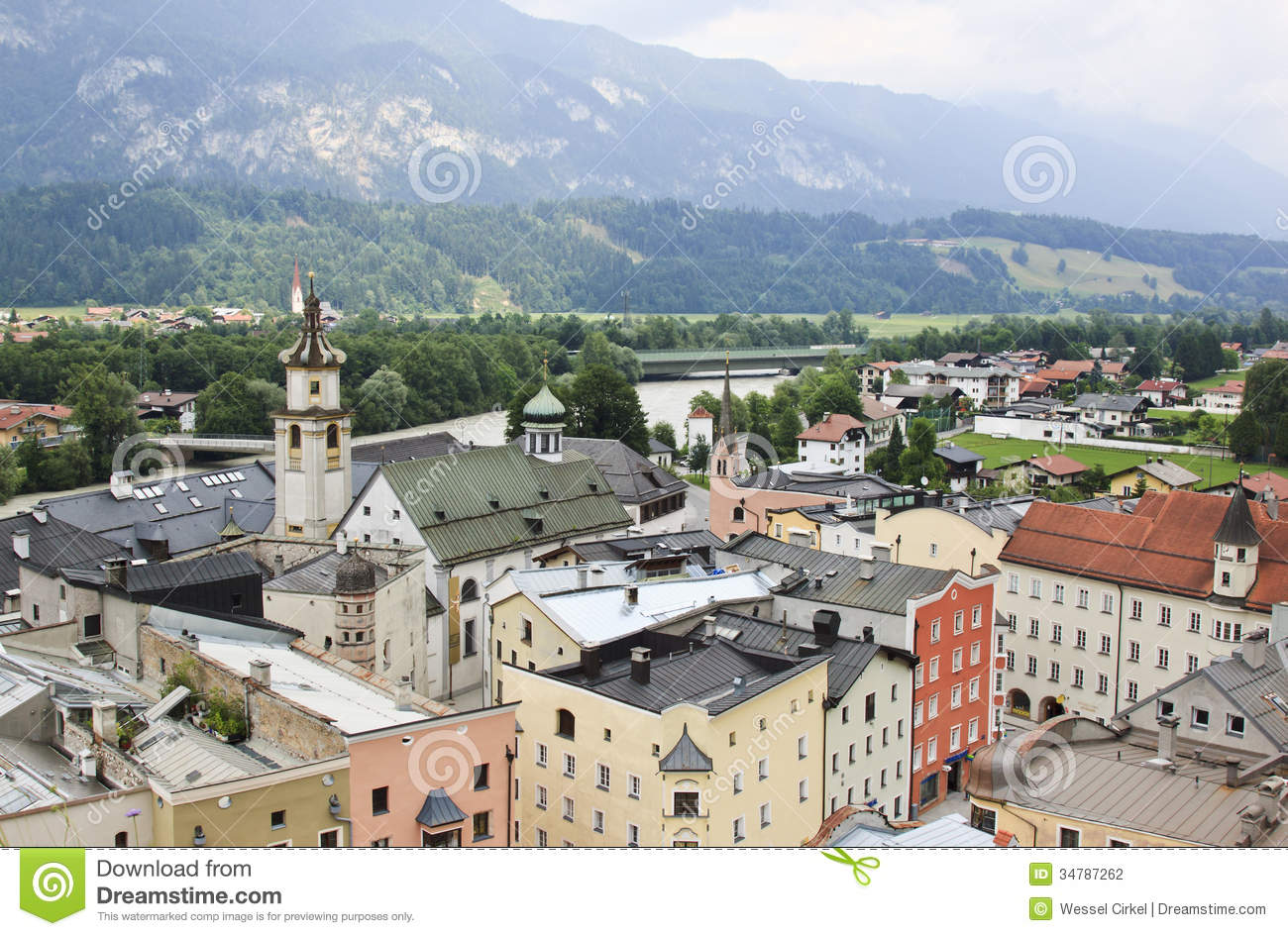 View From Rattenberg Castle Downtown, Austria Stock Photography.