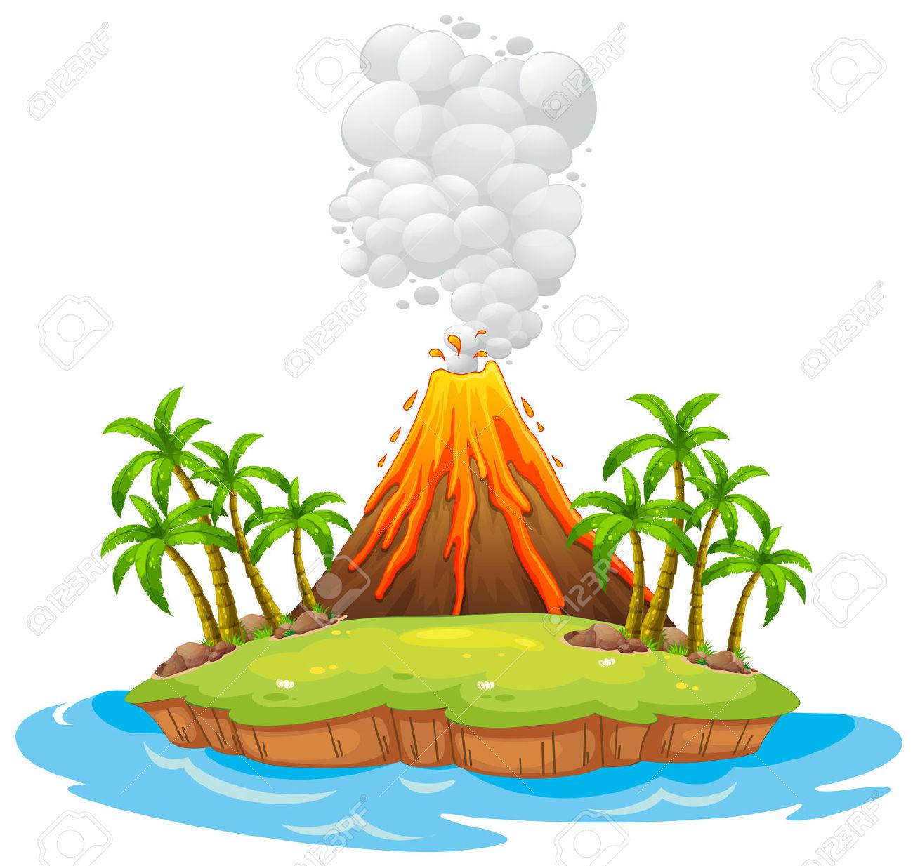 Vulkan Auf Einer Insel Mit Rauch Lizenzfrei Nutzbare.