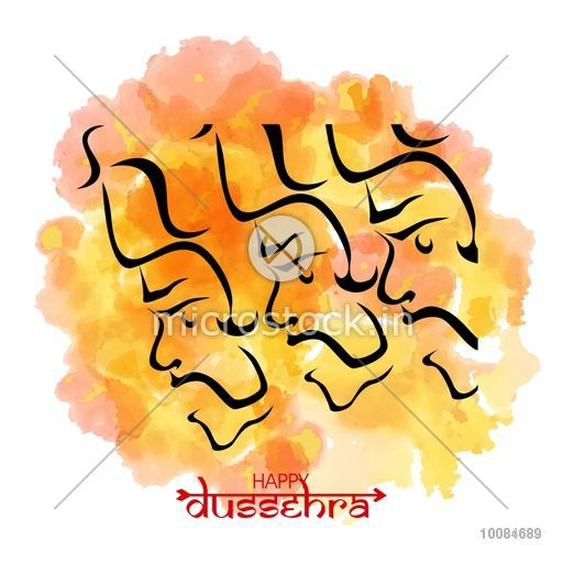 Happy Dussehra background with Ravana Face and watercolor splash, Can be  used as Poster, Banner or Flyer design..