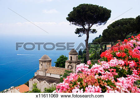 Stock Photograph of Italy, Campania, Ravello, view from Villa.