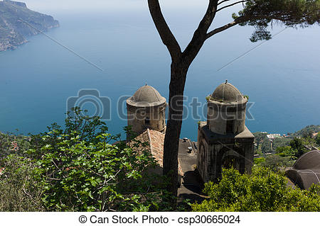 Stock Photo of Ravello, seaview, pearl of Amalfitan coast, Italy.