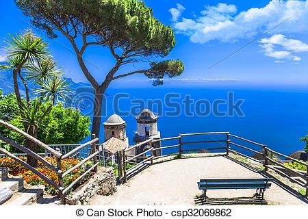 Stock Image of beautiful Ravello village, view with church. Amalfi.