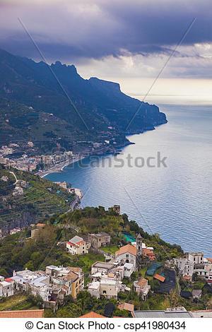 Stock Photos of amalfi coast looking from raod to ravello.