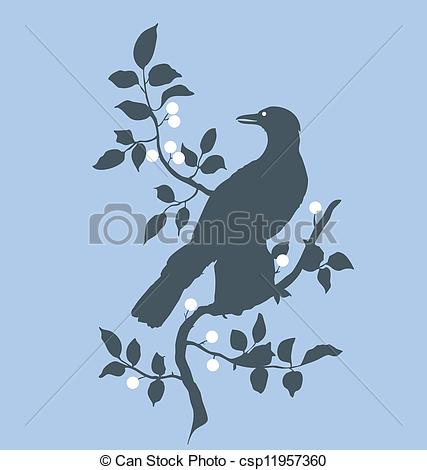 Clip Art Vector of Raven on branch.