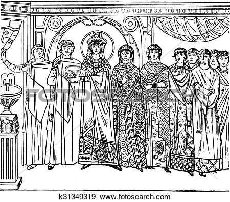 Clip Art of Pageant of the empress Theodora, executed in mosaic in.