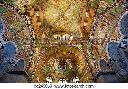 Stock Photograph of Byzantine mosaics in the Basilica of San.