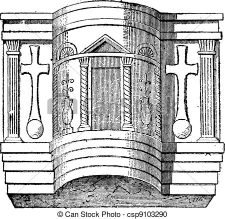 Vector Clipart of Pulpit of the Cathedral of Ravenna, vintage.