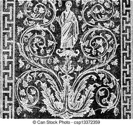 Clipart Vector of Mosaic, in the Mausoleum of Galla Placidia in.