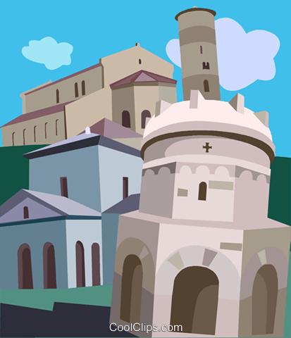 Ravenna, Italy Royalty Free Vector Clip Art illustration.