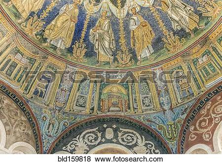 Pictures of Tile mosaic in ornate dome in Neonian Baptistery.