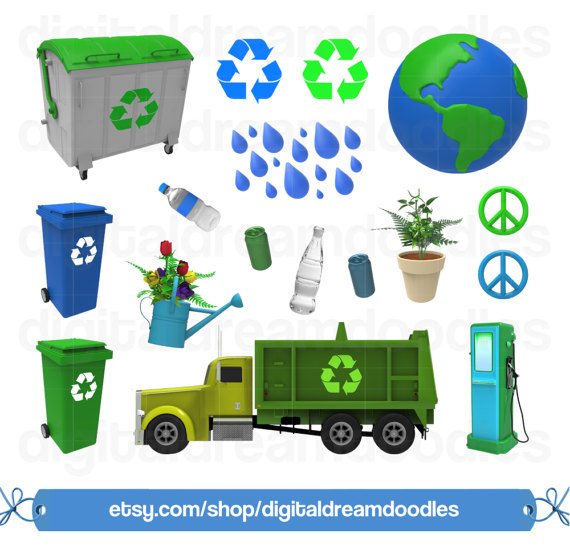 Clipart, Earth Day Clipart, Recycling Clip Art, Garbage Truck, Eco.