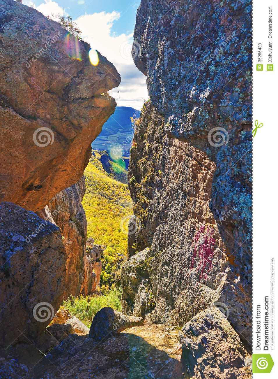 The Megalith And Ravine Stock Photo.