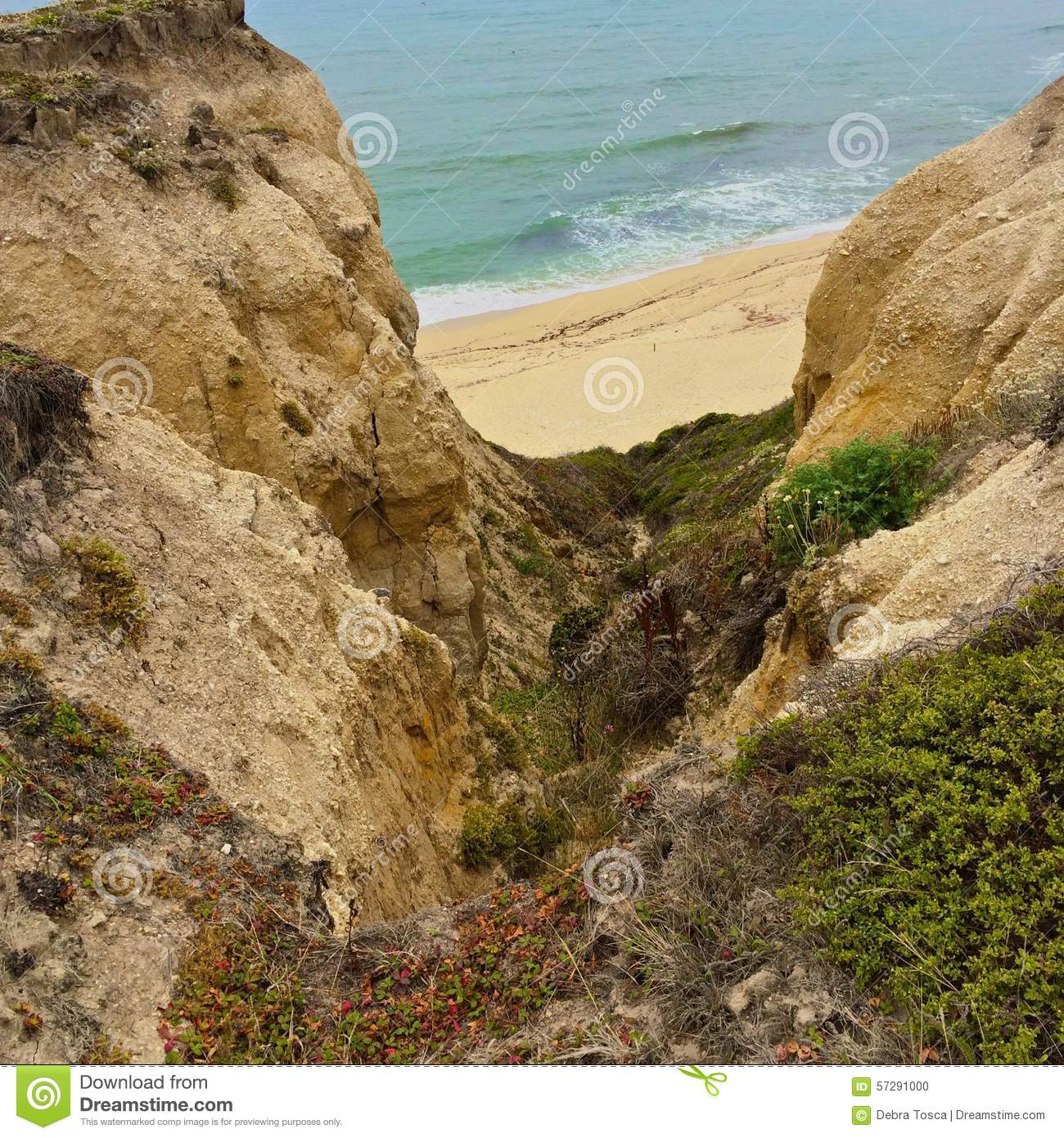 Ravine Mountain Ocean Stock Photo.
