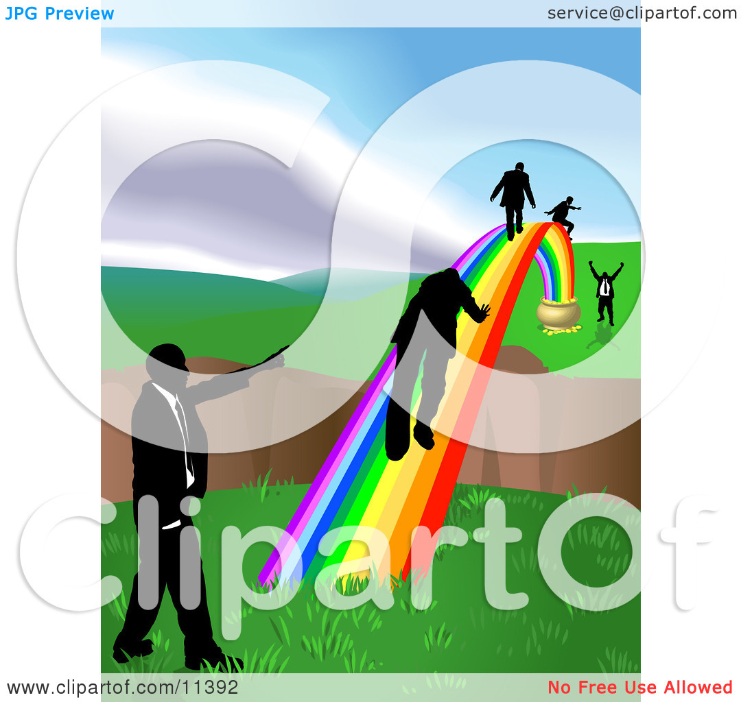 Men Walking on a Rainbow to Cross a Ravine Clipart Illustration by.