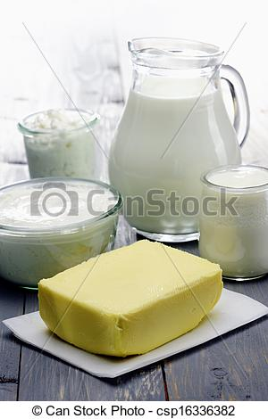 Pictures of Diary Products, milk,cheese,ricotta, yogurt and butter.