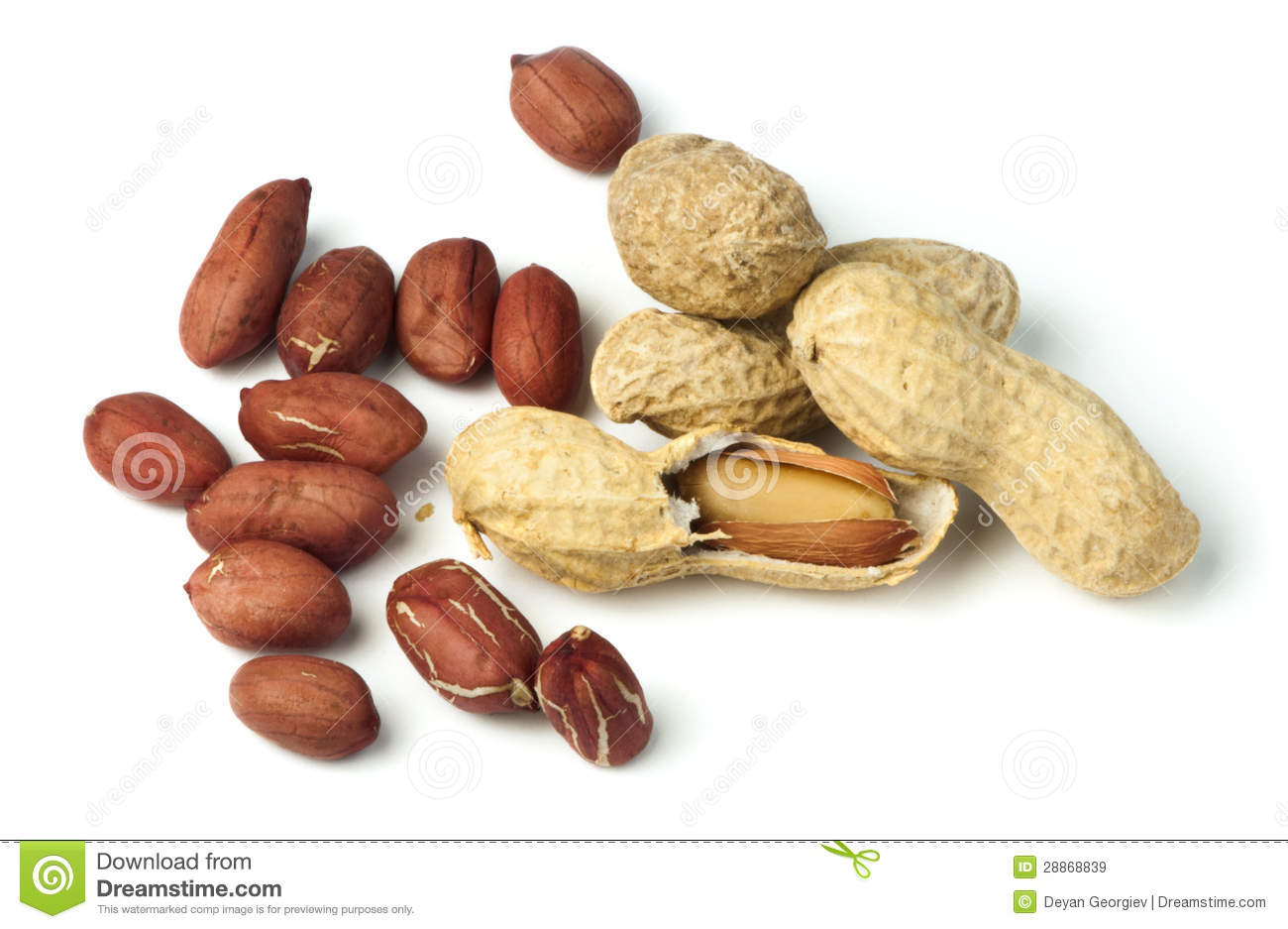 Raw Peanuts In Shells And Shelled Peanuts Royalty Free Stock.