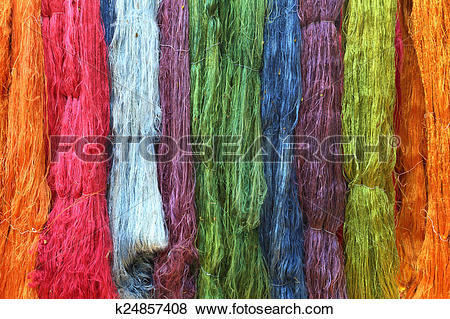 Pictures of Colorful raw silk thread k24857408.
