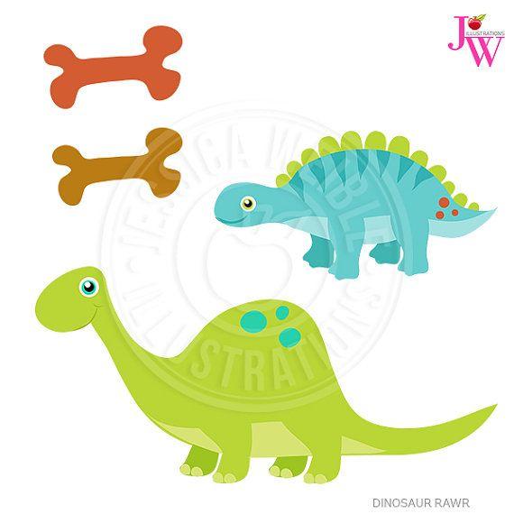Dinosaur Rawr Cute Clipart Dinosaur Clipart par JWIllustrations.