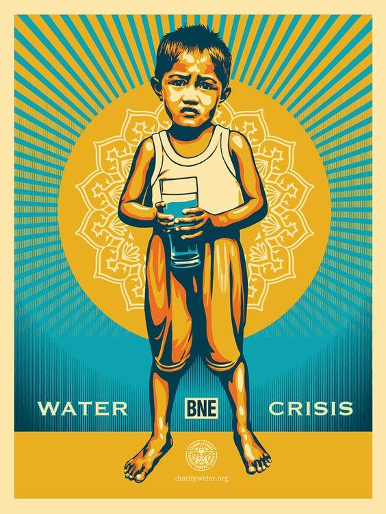 "Water Crisis"" by Shepard Fairey x BNE. 18″ x 24″ Screenprint. Ed."