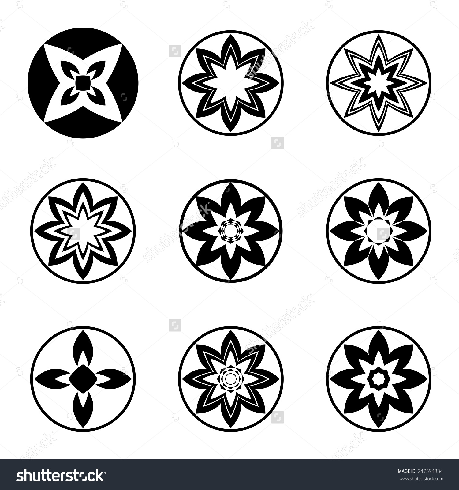 9 Tattoo Star Set Asters 4 Stock Vector 247594834.