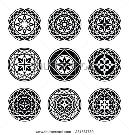 Floral Ornament Tattoo Set Flowers Star Stock Vector 281557739.