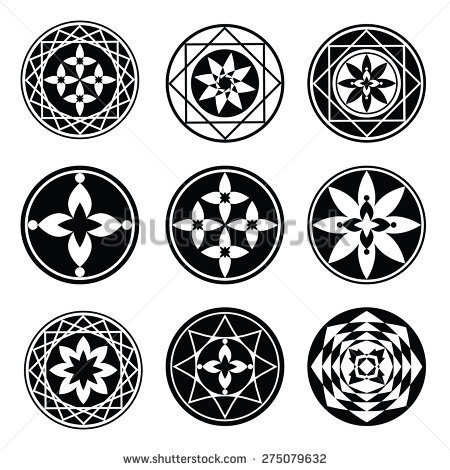Floral Ornament Tattoo Set Flowers Star Stock Vector 281557736.