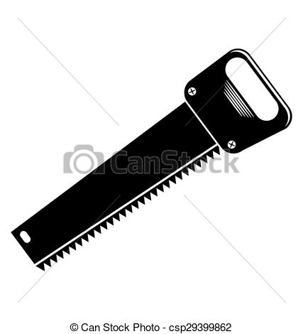 Clip Art Vector of Metal saw with sharp teeth, razor sharp hacksaw.