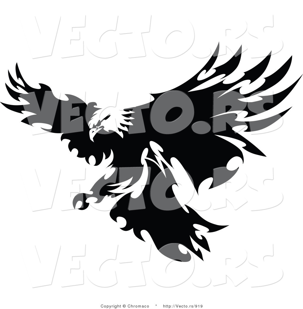 Vector of a Eagle with Razor Sharp Feathers Targeting Prey on Land.