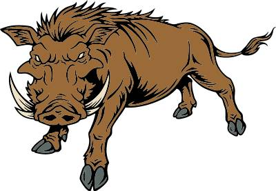 Razorback clipart with red eyes.