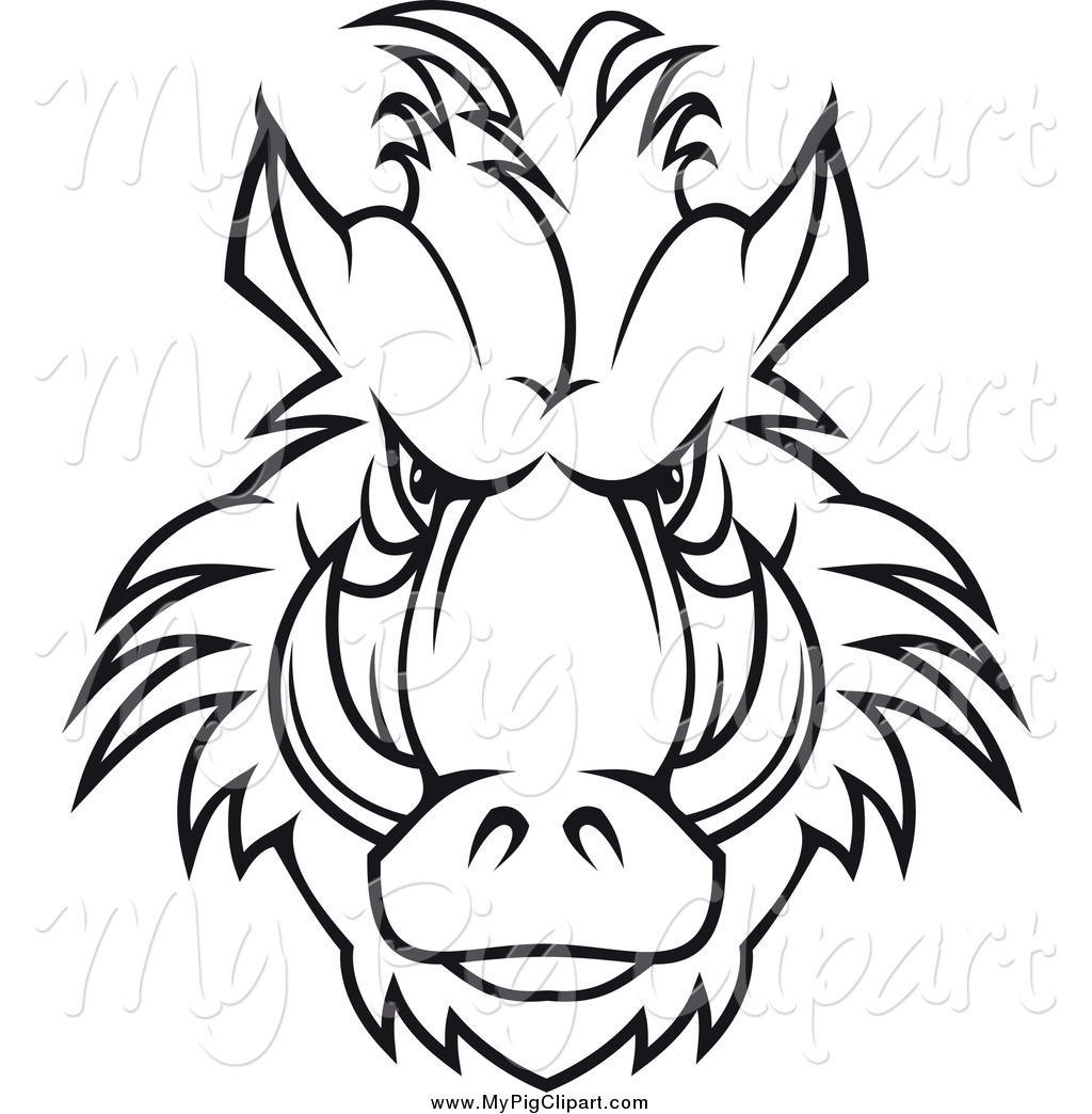 Swine Clipart of a Black and White Tough Razorback Boar Face by.