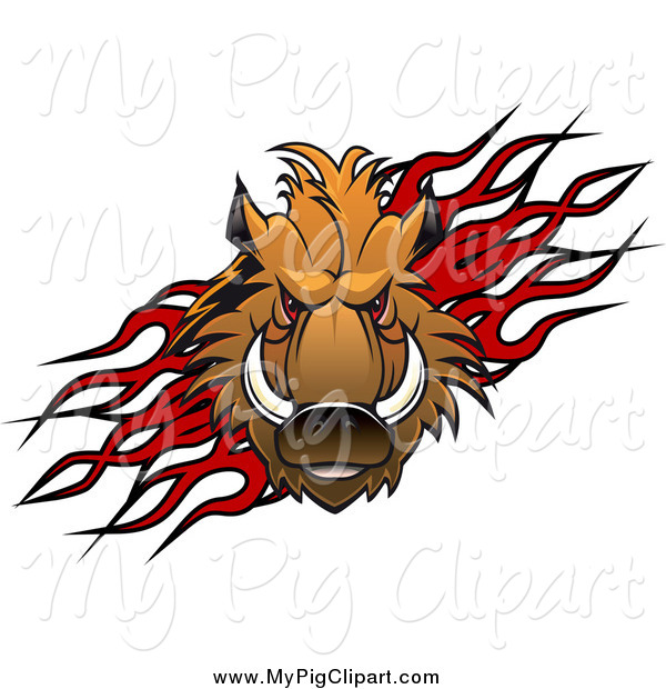 Swine Clipart of a Razorback Boar Pig over Flames by Vector.