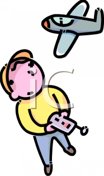 Cartoon of a Little Boy Playing with a Remote Control Plane.