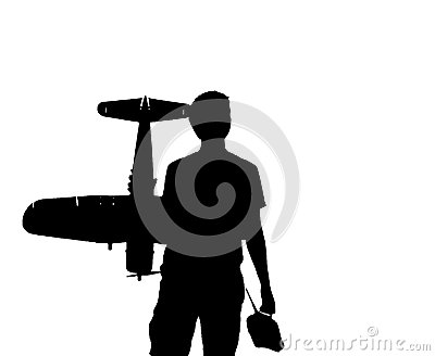 Young Man With An RC Airplane And A Controller Stock Photography.