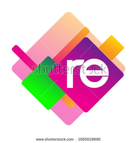 Letter RE logo with colorful geometric shape, letter.