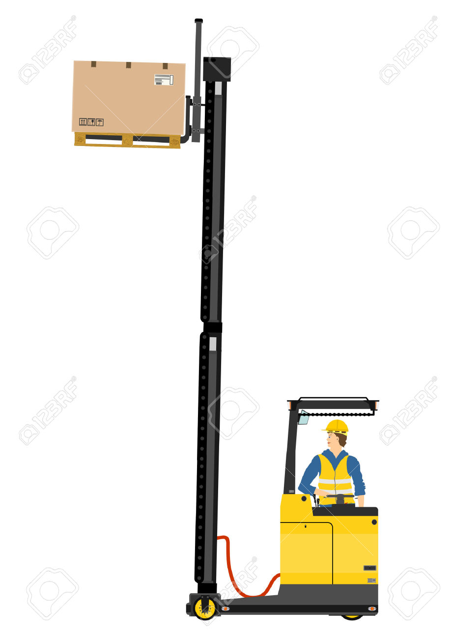Yellow Forklift Reach Truck On A White Background Royalty Free.