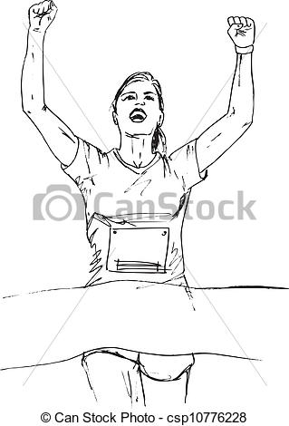 Vector Illustration of Sketch of woman reaching the finish line in.