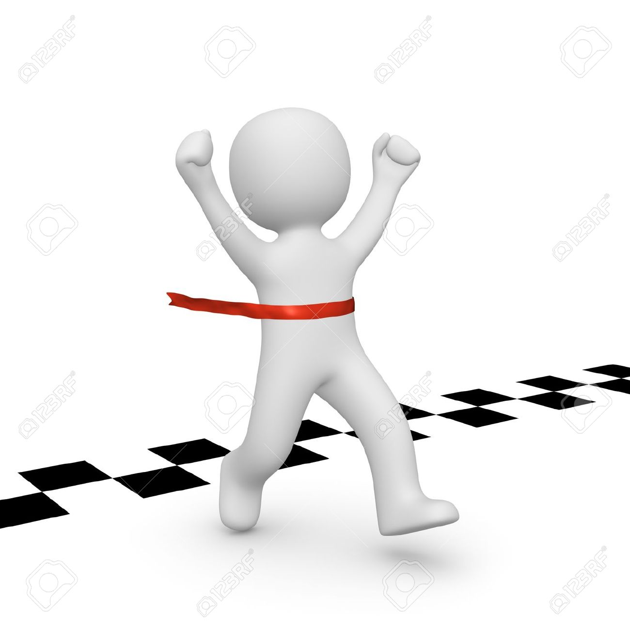 3d Man Has Reached The Finish Line. 3d Rendering. Stock Photo.