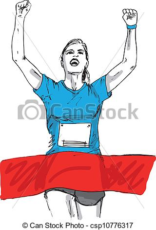 Vector Clip Art of Sketch of woman reaching the finish line in a.