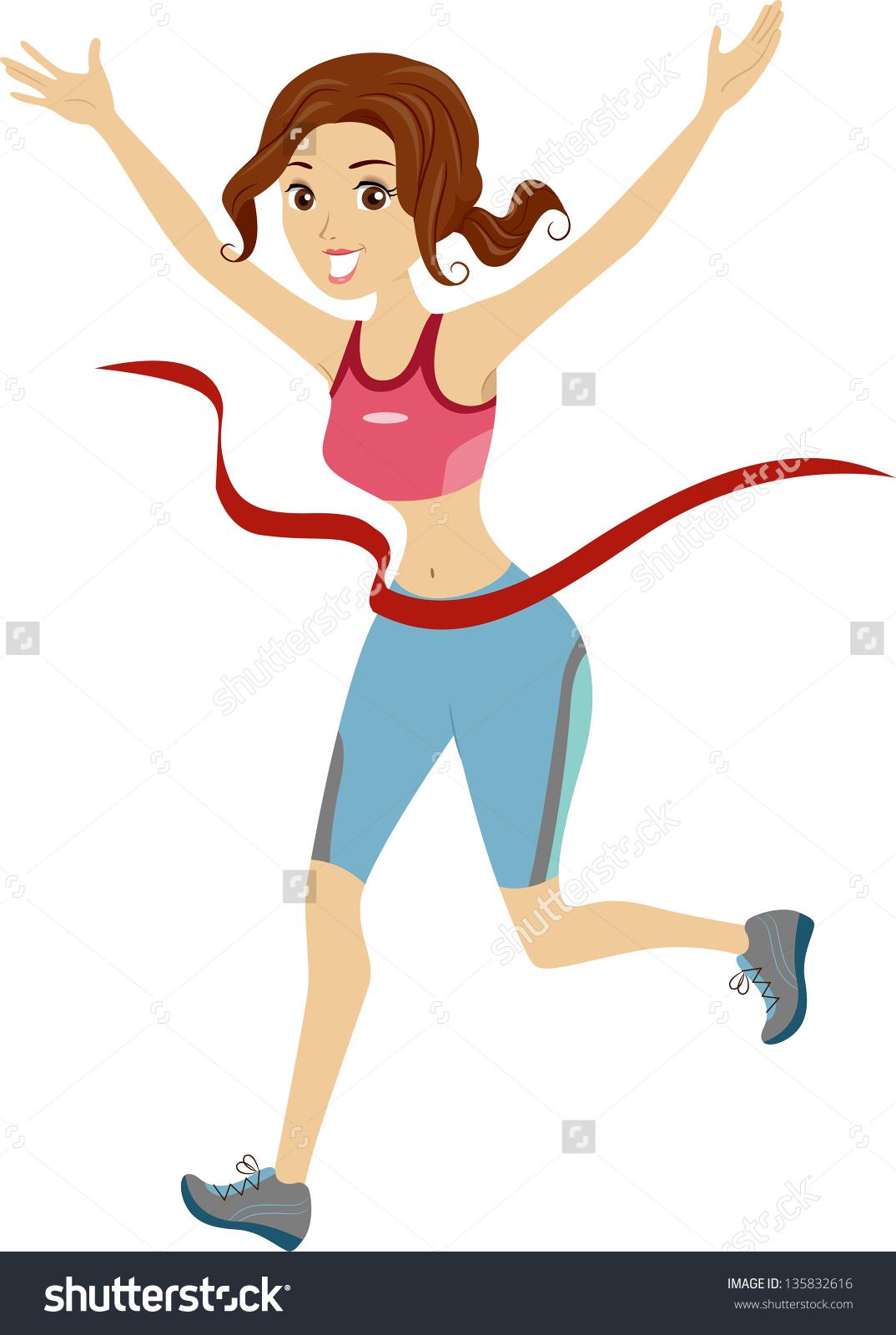 Illustration Girl Marathon Runner Reaching Finish Stock Vector.