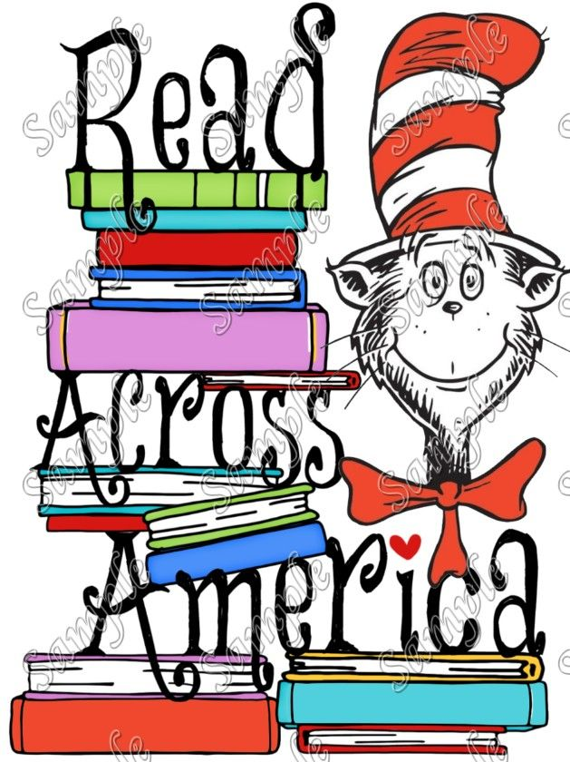 Dr. Seuss Read Across America T Shirt Iron on Transfer Decal.