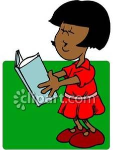 African American Girl Reading Aloud From a Book Royalty Free.