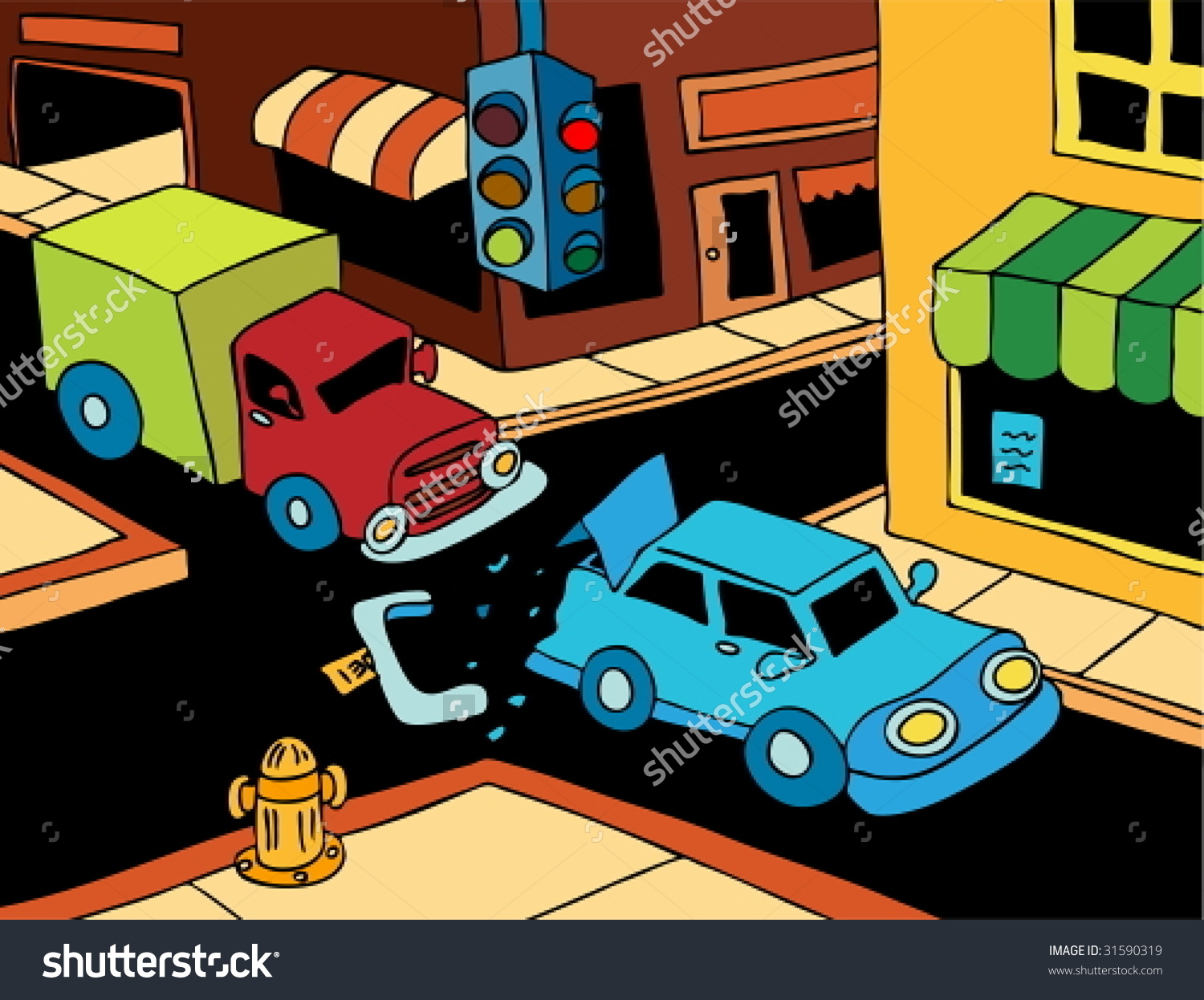 Rear end car crash clipart with truck and car.