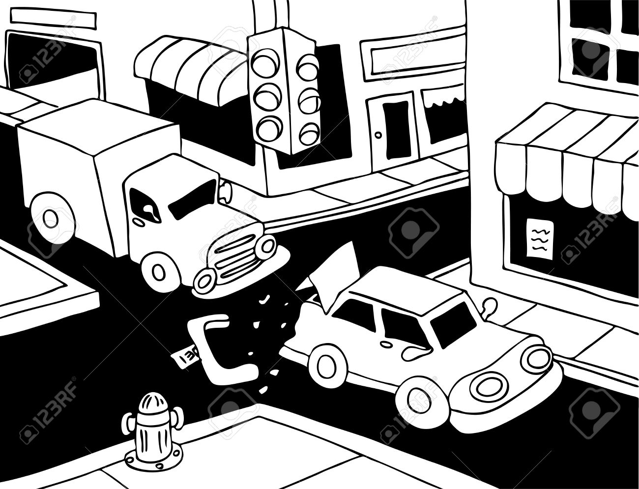 Car Accident Line Art: Truck Read Ends A Car On The Street.