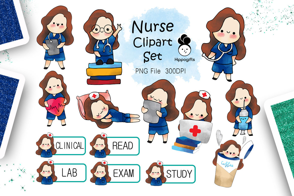 Brown hair nurse clipart By Hippogifts.